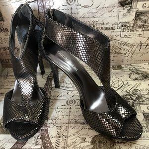 Gunmetal snakeskin heels